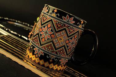 Чашка Вышиванка, черная