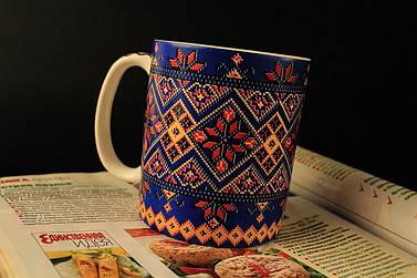 Чашка Вышиванка, синяя