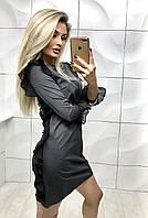 Котельное серое платье с рюшами по бокам