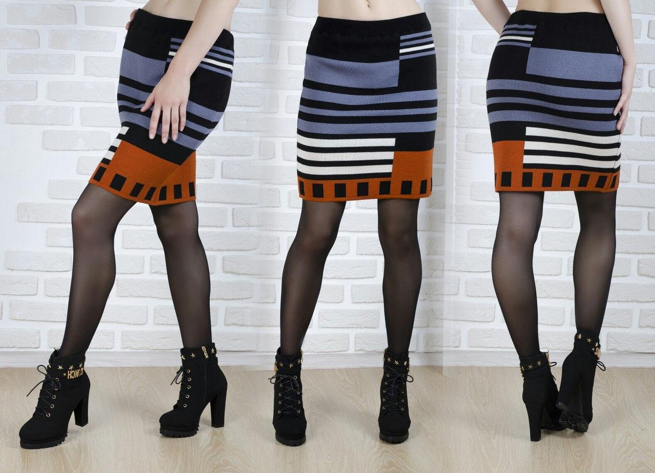 Теплая шерстяная короткая  женская юбка плотной вязки