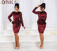 Вечернее  платье бархат+сетка с баской и пояс в комплекте