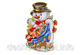 "Плакат ""Снеговик"" с глиттером и флоком. 36,5см. (9319-3)"