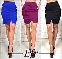 Женская юбка мини с разрезом