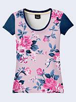 Женсая футболка Цветы на синем