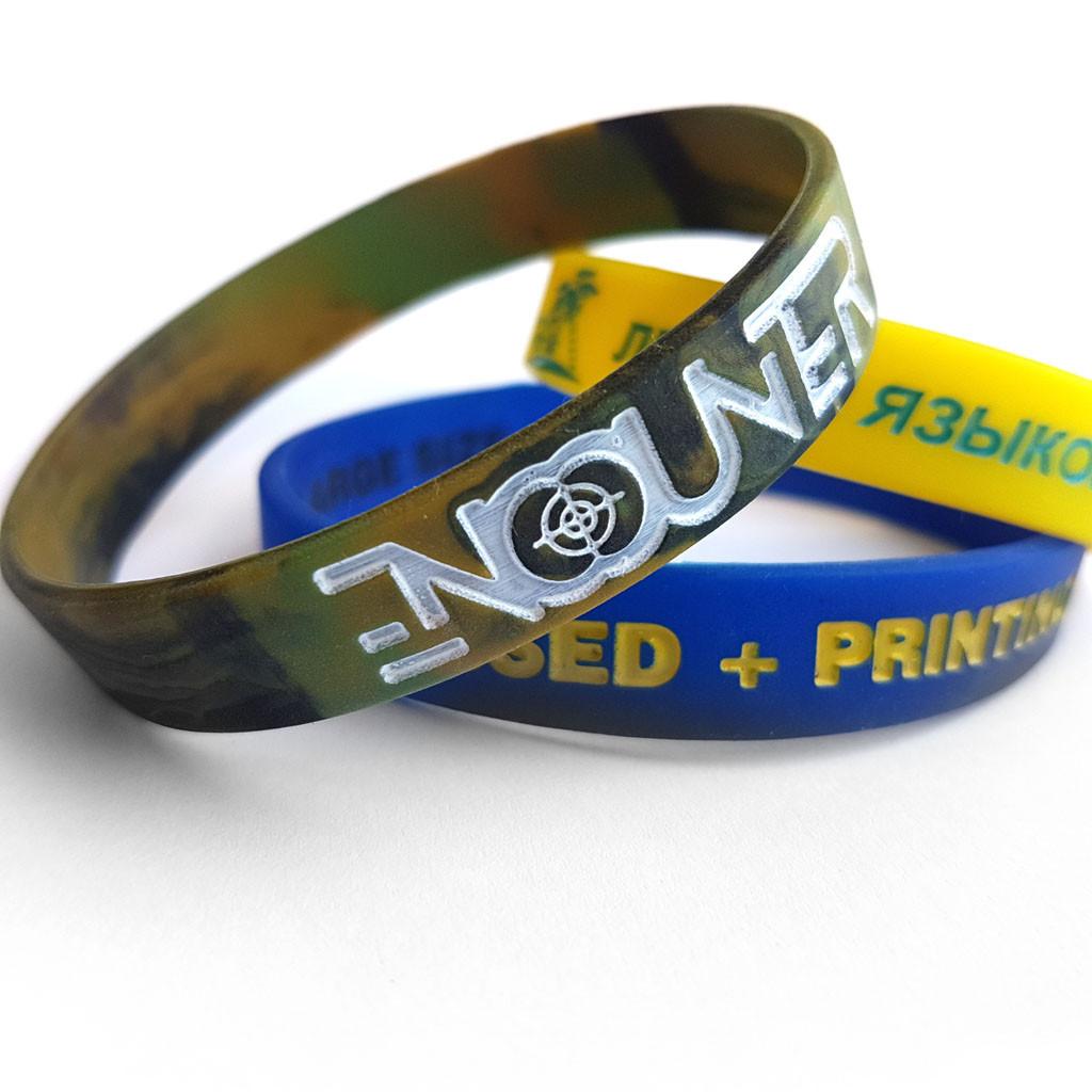Силиконовые браслеты с тиснением вдавленным + заливка краской от 500 шт
