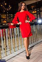 8679a364cc3 Стильное прямое темно бирюзовое платье креп со стразами на рукавах ...