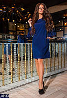 Стильное прямое темно синее платье креп со стразами на рукавах Арт-12861