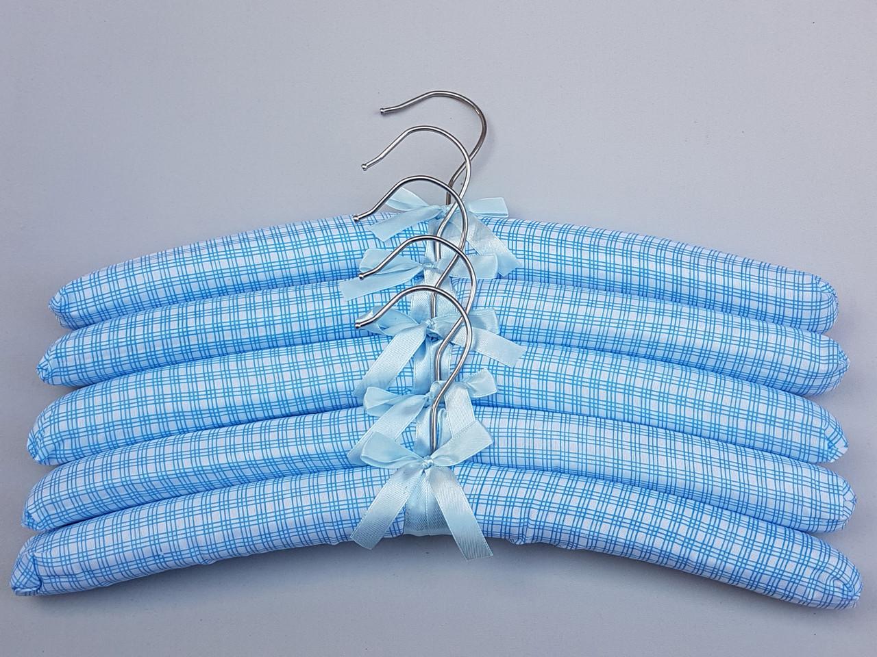 """Плечики тканевые мягкие  """"квадрат"""" голубые, 38 см, 5 штук  в упаковке"""