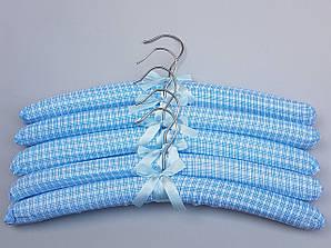 """Длина 38 см. Плечики тканевые мягкие  """"квадрат"""" голубые, 5 штук  в упаковке"""
