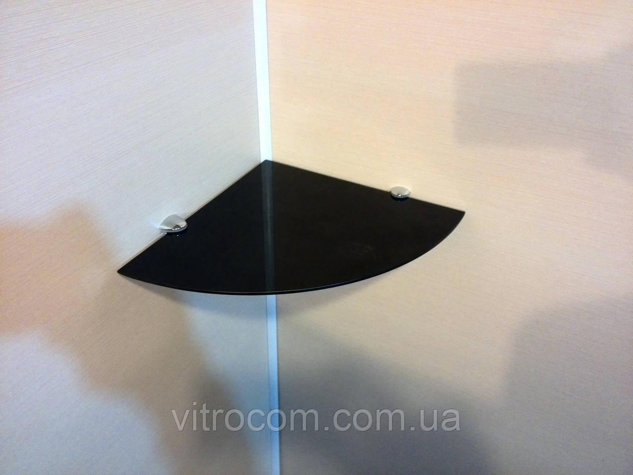 Полка стеклянная угловая 5 мм чёрная 20 х 20 см
