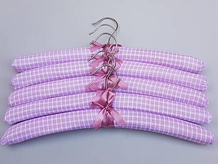 """Плечики тканевые мягкие  """"квадрат""""  розовые, 38 см, 5 штук  в упаковке"""