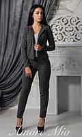 Женский теплый брючный костюм в клетку (черный и серый)