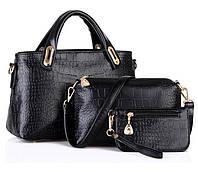 Практичный набор женских сумок 3в1 под крокодил. Отличный новомодный комплект. Хорошее качество. Код: КГ2350