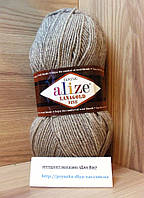 Полушерстяная пряжа (49%-шерсть,51%-акрил,100г/390м) Lanagold fine 207(светло-коричневый меланж)