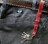 Кожаный брелок для ключей c карабином, фото 7