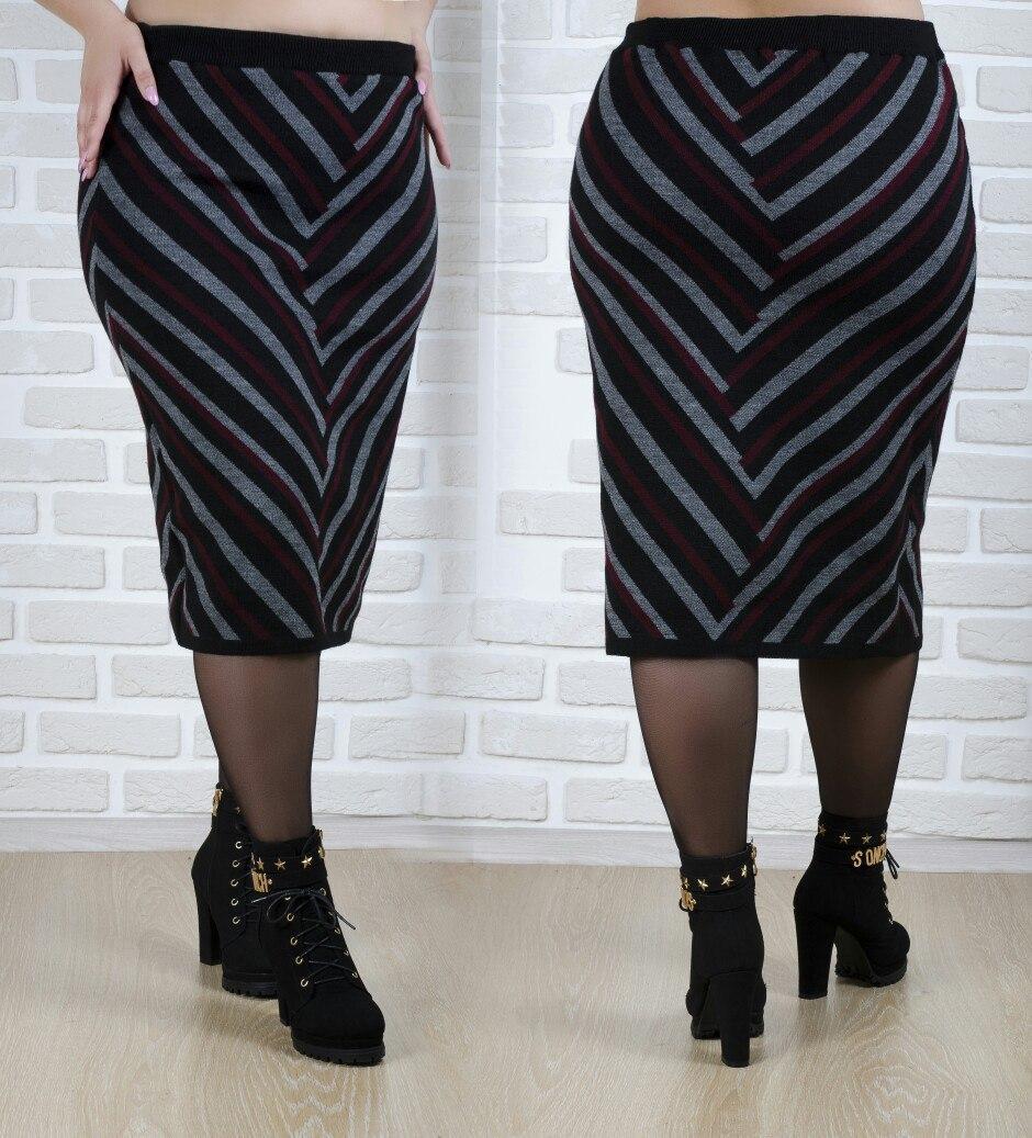 Теплая шерстяная длинная женская юбка плотной вязки с узором