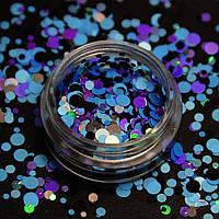 Камифубики (кружочки) конфетти для дизайна ногтей, KS-06