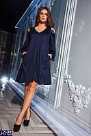 Стильное темно синее платье трапеция с кружевом. Арт-12865