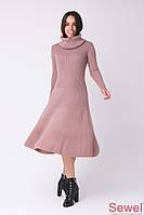 Теплое вязаное платье-клеш