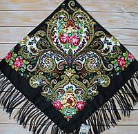 Красивый черный платок для девушек с цветами (120х120см, черный, 80%-шерсть), фото 1