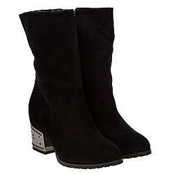 Полусапоги женские Summergirl (черные, с интересным дизайном каблука, удобные)
