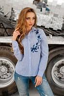 Рубашка с вышивкой в бело-голубую полосочку
