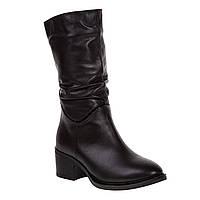Полусапоги женские Foletti (черные, кожаные, модные, удобные)
