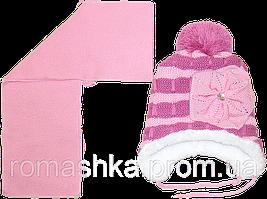 Детская зимняя вязаная шапочка р. 52-54 на овчине с шарфиком на завязках 1570 Розовый 52 А