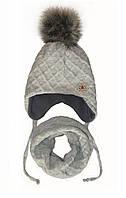 Шапка и шарф снуд зимний  для девочки