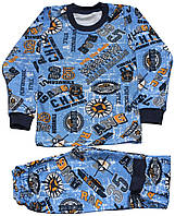 Пижама на байке для мальчика, синяя, надписи, рост 98 см, Фламинго