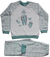 Пижама теплая для мальчиков, серо-голубая, в ромбики, мишка с фотоаппаратом, рост 134 см, ТМ Ля-ля