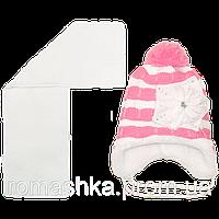 Детская зимняя вязаная шапочка р. 52-54 на овчине с шарфиком на завязках 1570 Белый 52