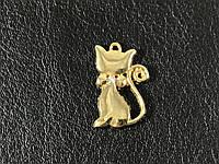 Пришивная подвеска кошка 12х20мм золото