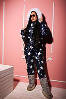 Женский модный теплый лыжный комбинезон с капюшоном и мехом (2 цвета)