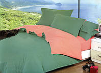 Качественный двусторонний комплект постельного белья евро размера зеленый/розовый
