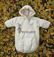 Конверт-комбинезон детский теплый бежевый с капюшоном, 62-68 р-р.,0-6 месяцев (с начесом), фото 1