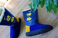 """Угги """"Цветки"""" Синие,натур. замш/Текстиль.."""