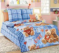 Постельное белье для малышей в кроватку бязь Плюшевые мишки голубой