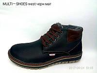 Зимние мужские ботинки из натуральной кожи черные Multi Shoes