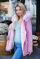Женская Зимняя ПАРКА -КУРТКА с мехом на капюшоне Хаки, Розовая, Черная, Голубая