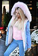 Женская Зимняя ПАРКА -КУРТКА с мехом на капюшоне Хаки, Розовая, Черная, Голубая , фото 1
