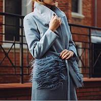 Пальто кашемировое с поясом с мехом на карманах лама
