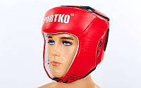 ФБУ Шлем боксерский открытый кожаный SPORTKO UR  ОК1 (красный, р-р М)