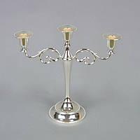 Подсвечник канделябр на 3 свечи (25*26 см) мельхиор