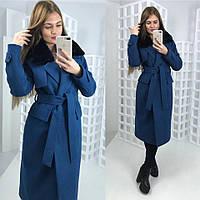 Зимнее кашемировое пальто с мехом