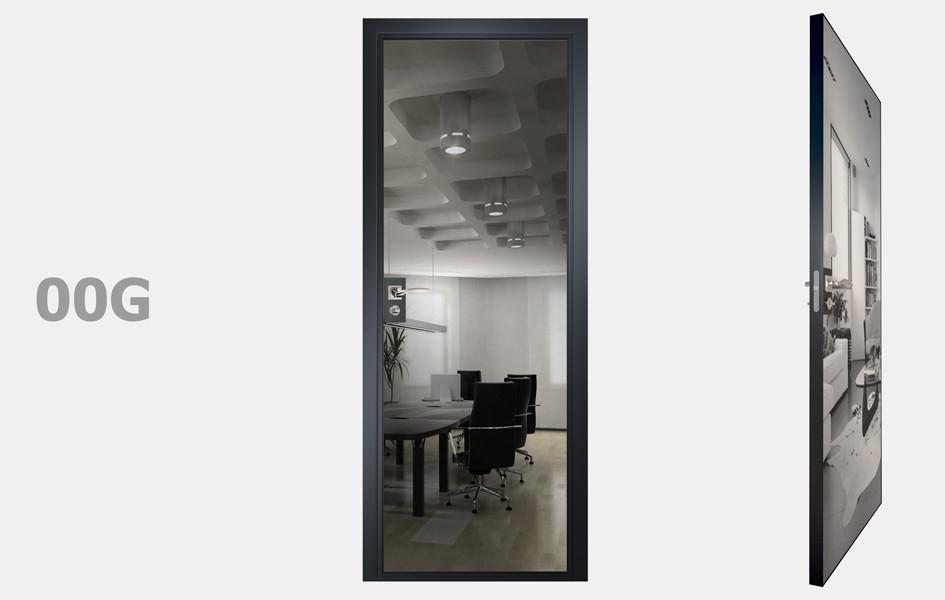 Двери межкомнатные с зеркалом пескоструй Графит рис.00-09