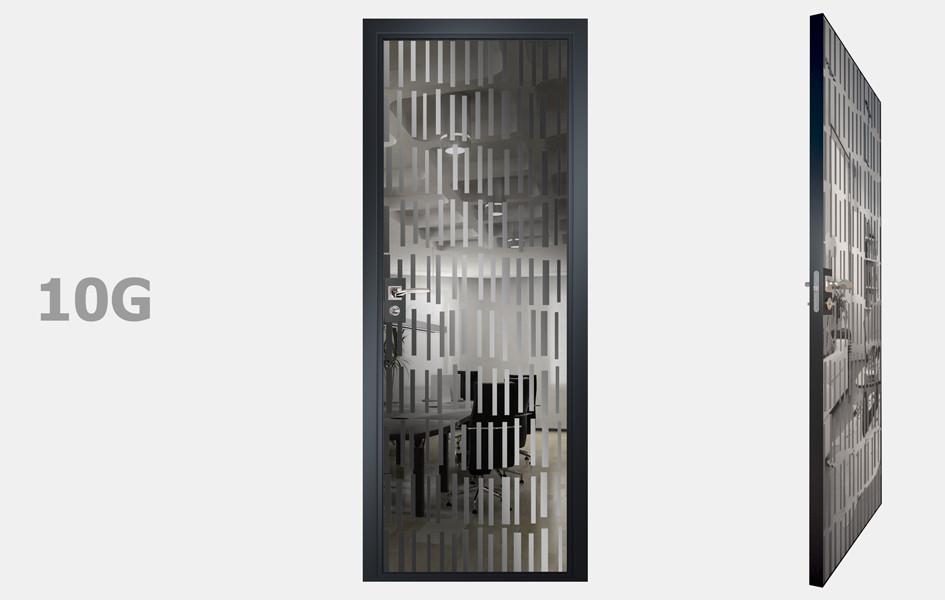Двери межкомнатные с зеркалом пескоструй Графит рис. 10-19