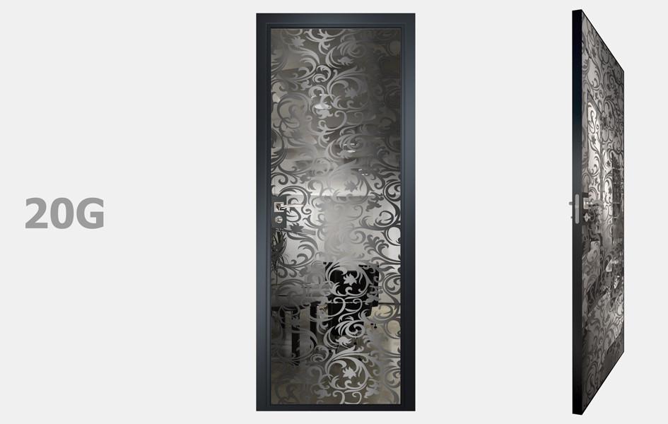Двери межкомнатные с зеркалом пескоструй Графит рис. 20