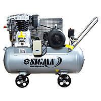 Компрессор ременной двухцилиндровый Sigma 7044521 380В 678л/мин 10бар 100 л
