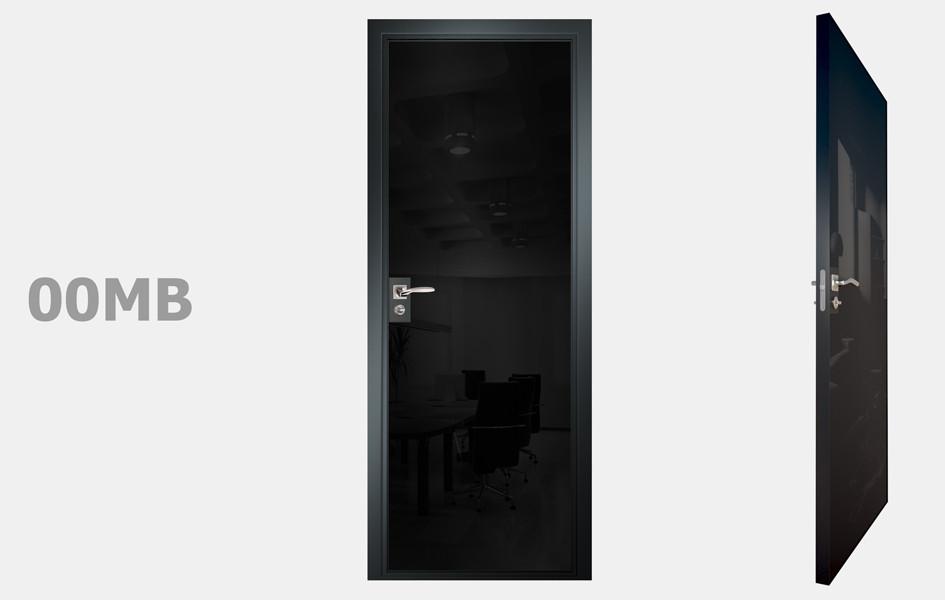 Двери межкомнатные с зеркалом пескоструй Моноколор черный рис.00-09